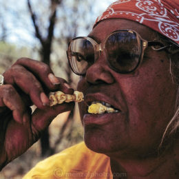 AUS.meb.32.cxxs Bessie Liddle savors a roasted witchetty grub for its flavor and its nostalgiaÑshe has not hunted the grubs to the extent she did when she was young, partly due to the proliferation of supermarket foodstuffs and partly due to her age, outside Alice Springs, Central Australia. (Witchetty grubs are the larvae of cossid moths).(Man Eating Bugs page 22)